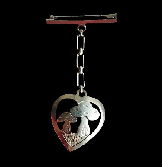 Mushroom inside heart dangling brooch. 835 silver. 1930s