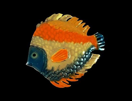 Orange blue beige yellow enamel fish brooch