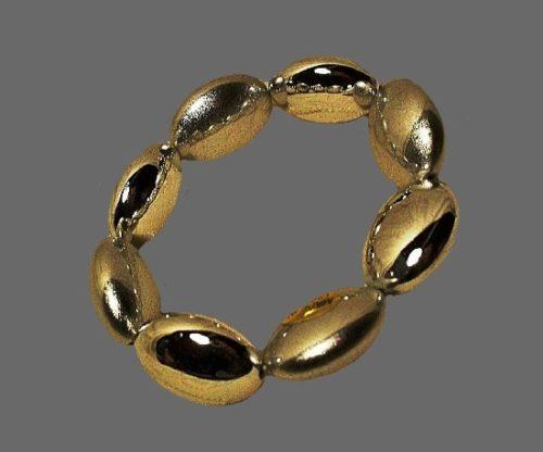 Oval shaped balls silver tone stretch bracelet