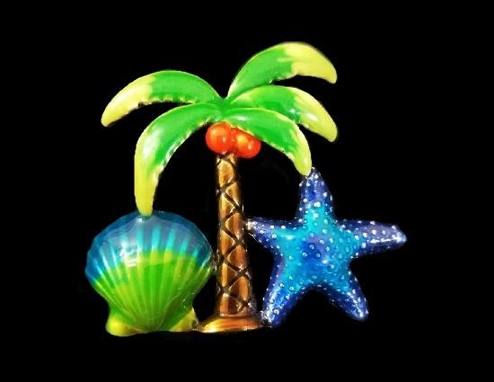 Palm tree star fish shell brooch. Multicolor enamel, gold tone