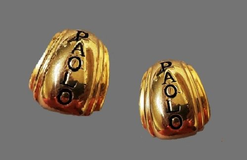 Paolo engraved gold tone clip on earrings