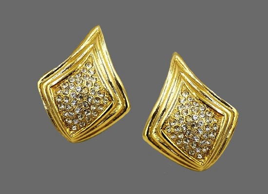 Pave rhinestone gold tone vintage earrings