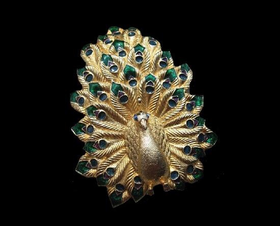Peacock statement brooch. Gold tone textured metal, rhinestones, enamel