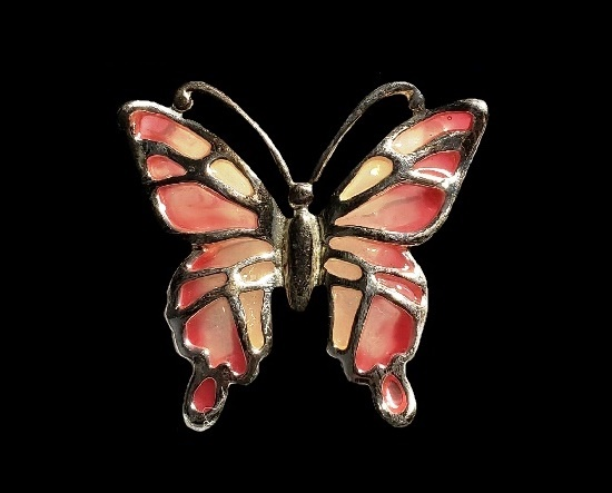 Pink enamel silver tone butterfly brooch pin