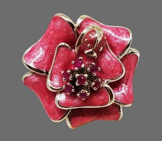 Pink flower ladybug ring. Sterling silver, enamel