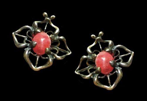 Pink rose quartz sterling silver earrings