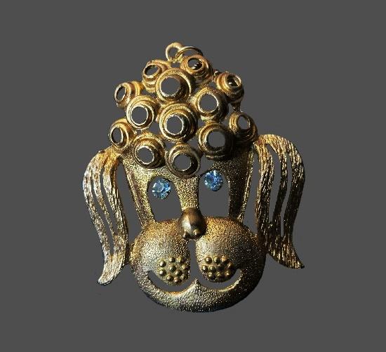Poodle head vintage pendant. Matte gold tone, rhinestones