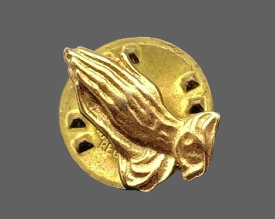Prayer Clutch Pin of gold tone