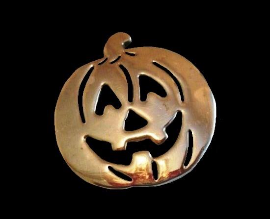 Pumpkin silver tone pin brooch