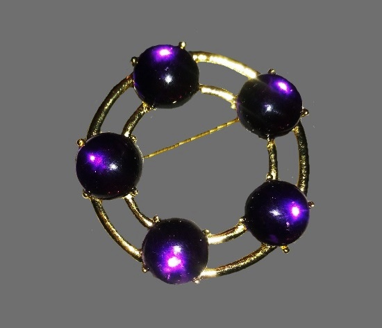 Purple art glass gold tone brooch