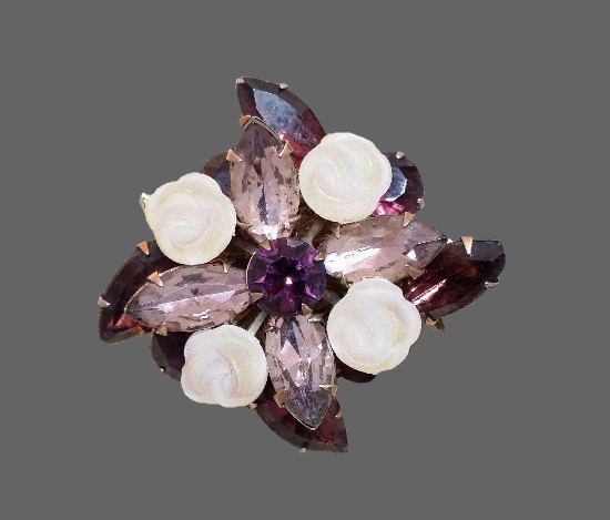 Purple flowers brooch. Gold tone alloy, art glass, Aurora Borealis rhinestones