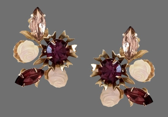 Purple flowers clip on earrings. Gold tone alloy, art glass, Aurora Borealis rhinestones
