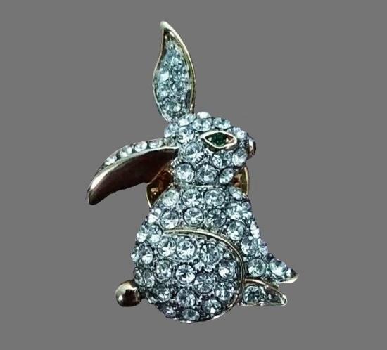 Rabbit lapel pin. Pave rhinestone, silver tone