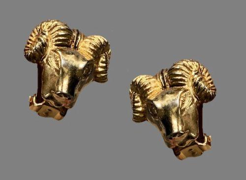 Ram head gold tone earrings