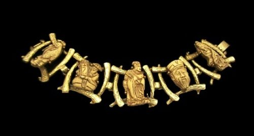 Rare collectable Gods of Fortune gold plated necklace