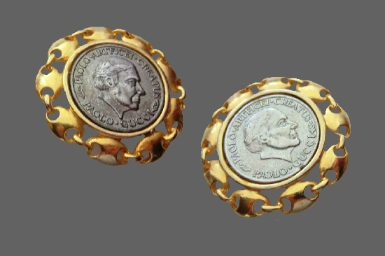 Rare silver and gold tone coin design clip on earrings with engraved full name