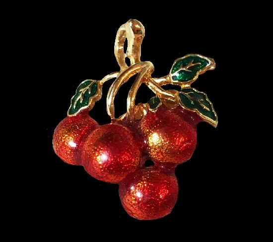 Red berry cherry brooch of gold tone
