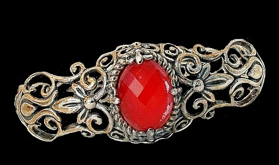 Red crystal sterling silver filigree cuff bracelet