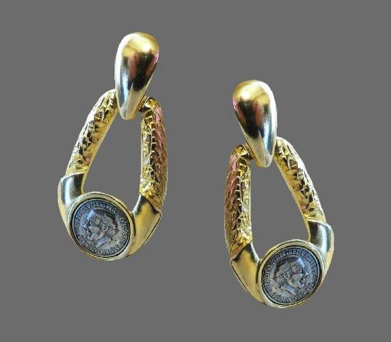 Roman Coin Runway Pierced Drop Earrings