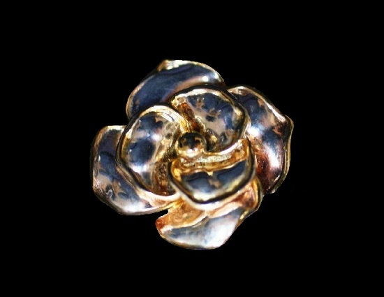 Rose brooch of silver and gold tone