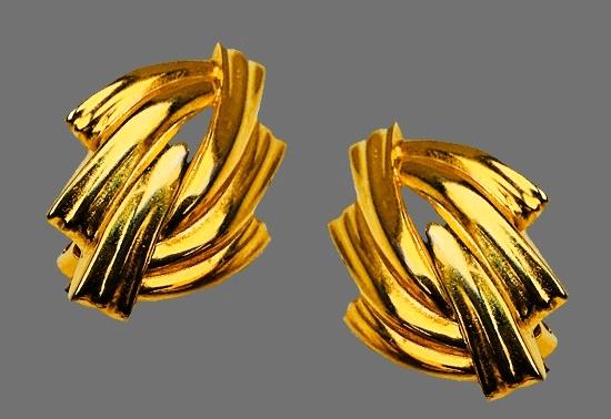 Runway statement gold tone earrings