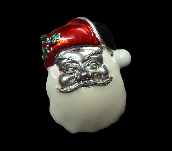 Santa Claus silver tone enameled brooch