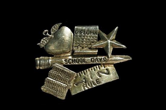 School Days silver tone pendant pin