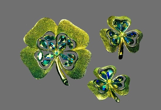 Shamrock clover brooch and clip earrings. Gold tone metal alloy, Aurora Borealis rhinestones