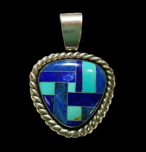 Silver Lapis Turquoise Inlaid pendant