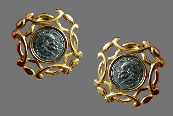 Silver coin gold decorative frame earrings