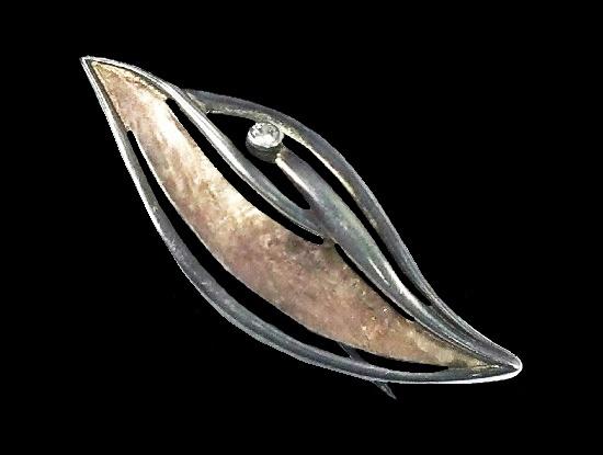 Silver leaf rhinestone vintage brooch