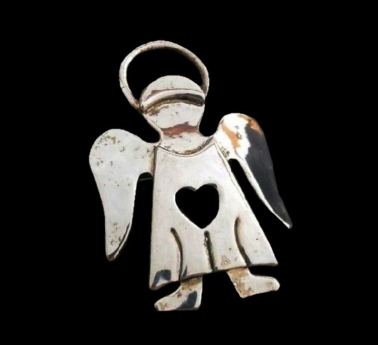 Silver tone angel with heart pin pendant