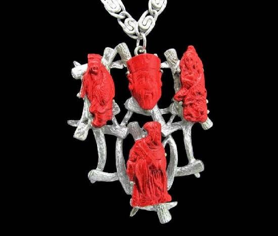 Silver tone chain red enamel Gods of fortune pendant. 1950s