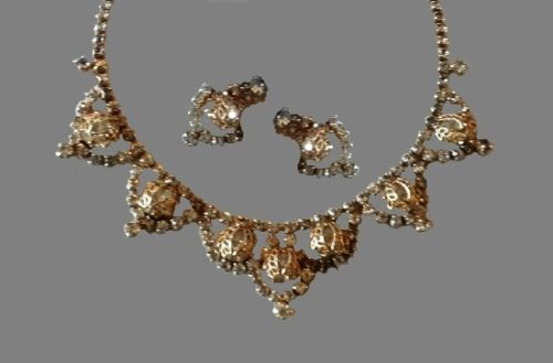 Silver tone clear rhinestone necklace and earrings