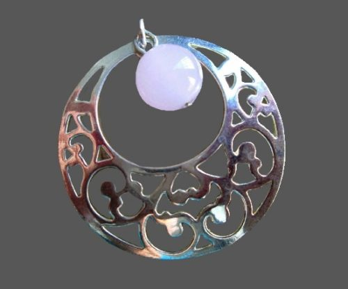 Silver tone openwork pendant with dangling lucite ball charm