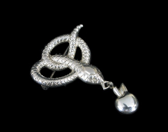 Snake with apple dangling brooch. Textured sterling silver