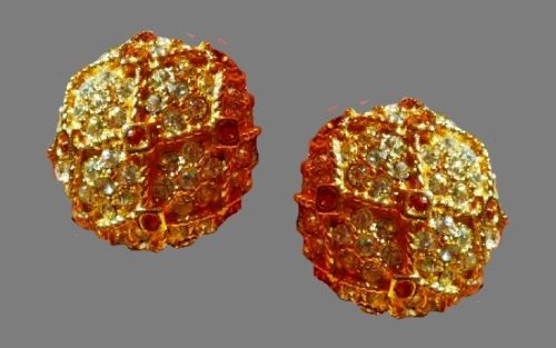 Sparkling ball vintage clip on earrings. Gold tone, rhinestones. 1980s