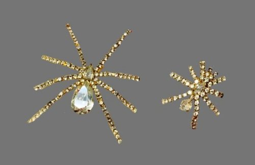 Spider paired brooches. Gold plated alloy, Swarovski crystals, rhinestones. 1990s