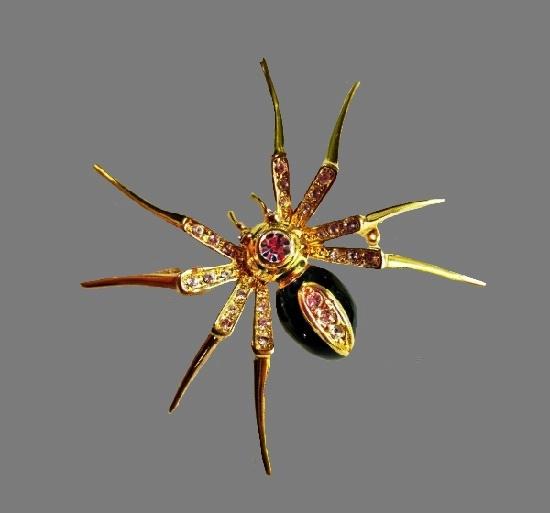 Spider vintage brooch. Gold tone metal alloy, rhinestones, enamel