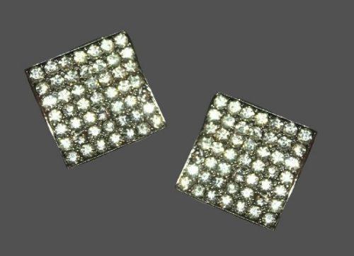 Square shaped silver tone metal pave rhinestones earrings