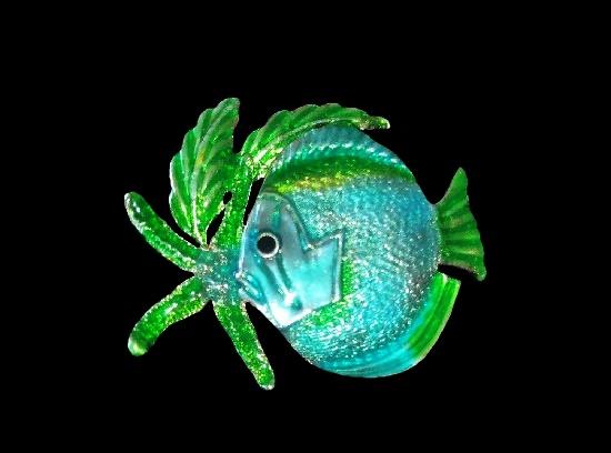 Starfish fish brooch pendant. Silver tone, blue and green enamel