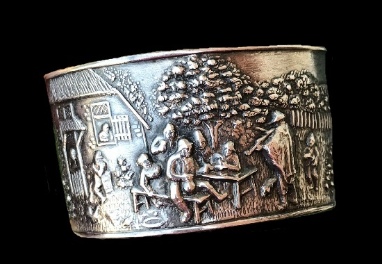 Tavern Scene Silver Plated Cuff Bracelet