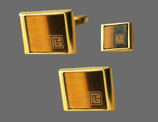 Tie clip and cufflinks gold plated set