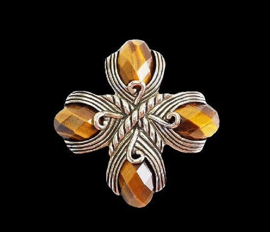 Tiger eye sterling silver cross brooch pendant