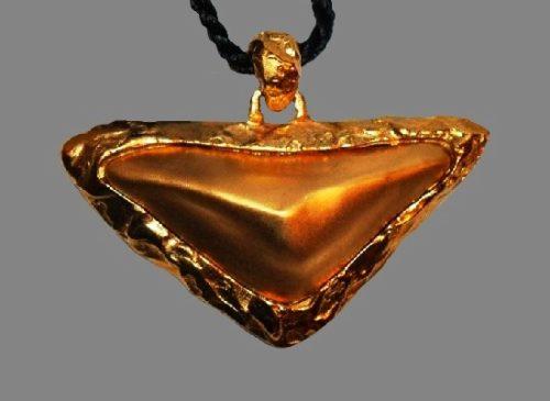 Triangle shaped gold tone pendant