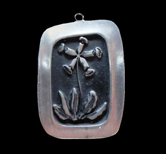Trumpet flower vintage pewter pendant. 1960s