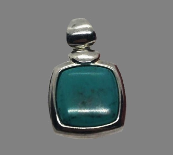Turquoise cabochon sterling silver pendant