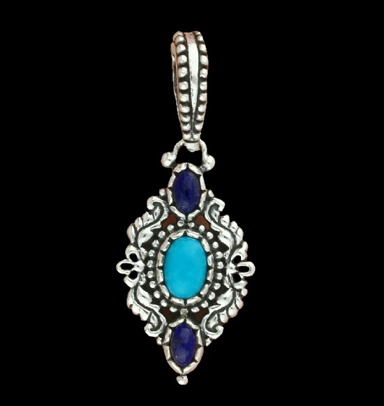 Turquoise lapis sterling silver charm pendant