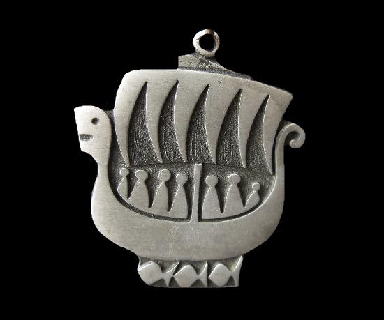 Viking Ship silver pendant. 6 cm. 1970s