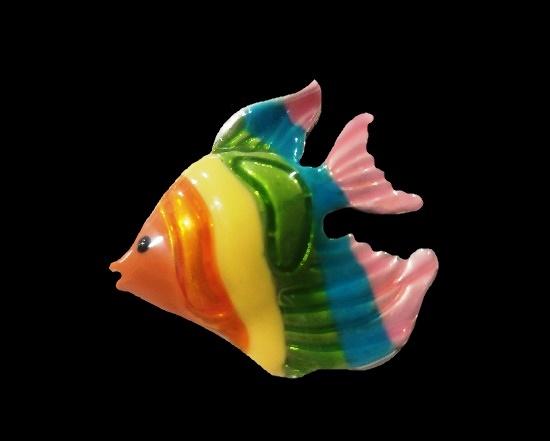 Vintage Angel Fish enameled brooch